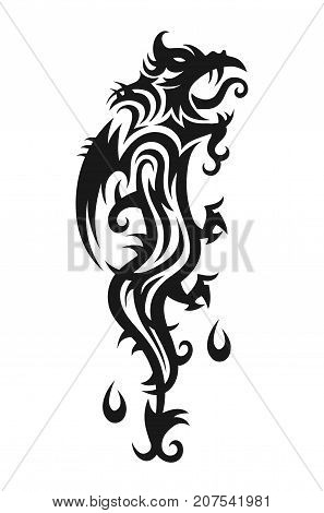 Abstract trible dragon. Vector illustration. Isolated on white background. Tattoo design. Abstract dragon print for t-shirt