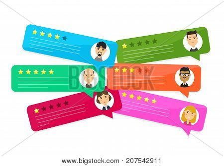 Review rating bubble speeches. Vector modern style cartoon character illustration avatar icon design. concept of decision, grading system, reviews stars rate and text, feedback evaluation, messages