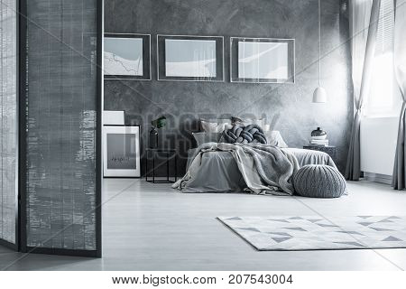 Grey Bedroom With Screen