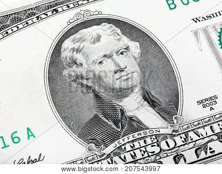 Thomas Jefferson. Qualitative Portrait From 2 Lucky Dollars Bill