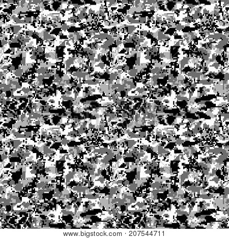 Military pixel camo seamless pattern. Gray winter camouflage. Vector background for your design.