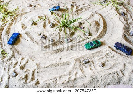 Racing cars race track for competitions or childhood
