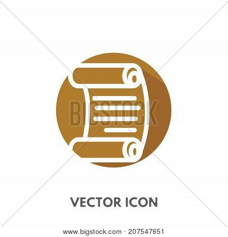 Vector doodle scroll icon. Stock round symbol for design.