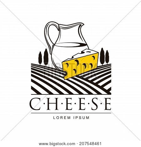 Swiss, holland maasdam yellow piece of porous cheese with holes and milk jug brand, logo product design icon pictrogram silhouette. Isolated flat illustration on the background of grass fields.