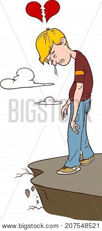 vector illustration of a commit suicide .
