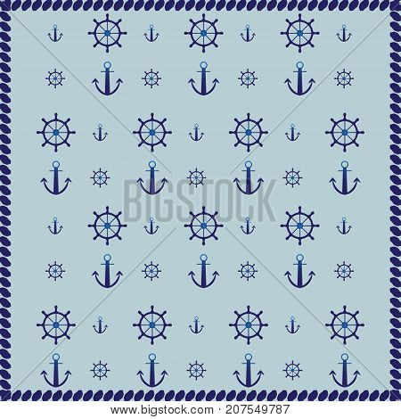 Ship wheel anchor and rope abstract pattern background stock vector