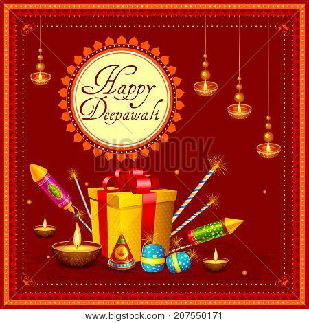 vector illustration of colorful fire cracker with decorated diya for Happy Diwali festival holiday celebration of India greeting background