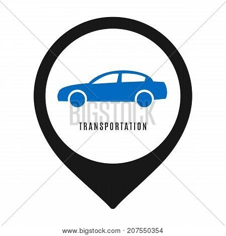 Car icon isolated on white background. Vector illustration for transport design. Simple symbol car sign. Transportation flat automobile silhouette. Speed auto traffic element. Mobile wheel set.