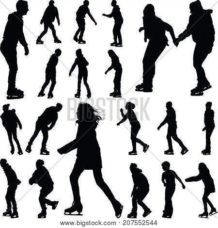 group of twenty ice skaters silhouette vector