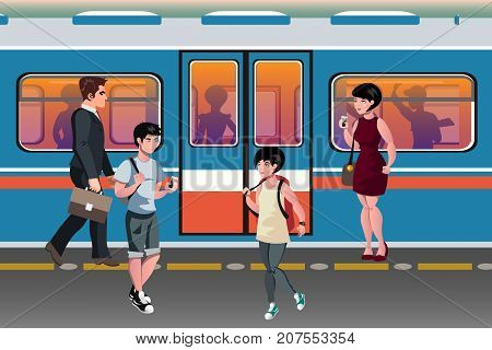 People in subway train public transport. Vector illustration