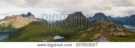 View from the Segla mountain at sunset Senja island Norway. Panorama picture