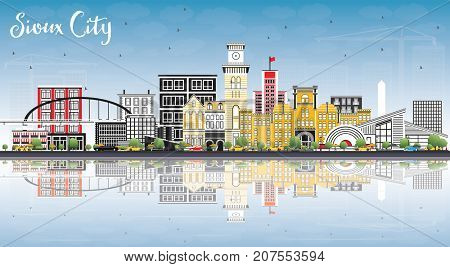 Sioux City Iowa Skyline with Color Buildings, Blue Sky and Reflection. Business Travel and Tourism Illustration with Historic Architecture.