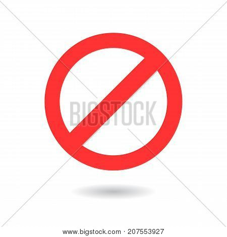 Prohibited simple red sign with shadow on white background. Vector icon.