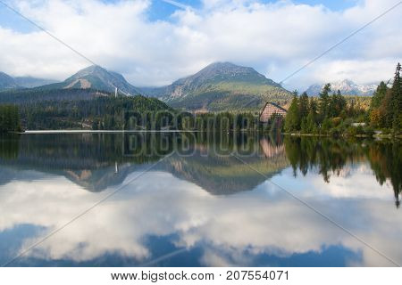 Autumn scenery on Strbske Pleso. Slovakia.Strbské Pleso is a favorite ski tourist and health resort in the High Tatras Slovakia located on the lake by the same name
