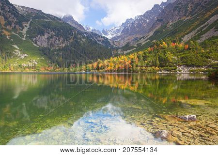 Autumn scenery on Popradské pleso. Slovakia. It is a mountain lake of glacial origin located in the High Tatras Slovakia
