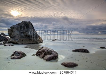 Beautiful view to Eggum beach in Norway Lofoten islands Norway. HDR Image