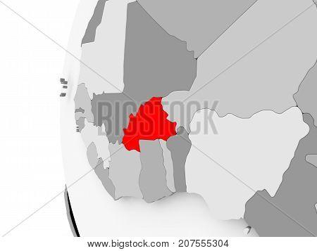 Burkina Faso On Grey Globe