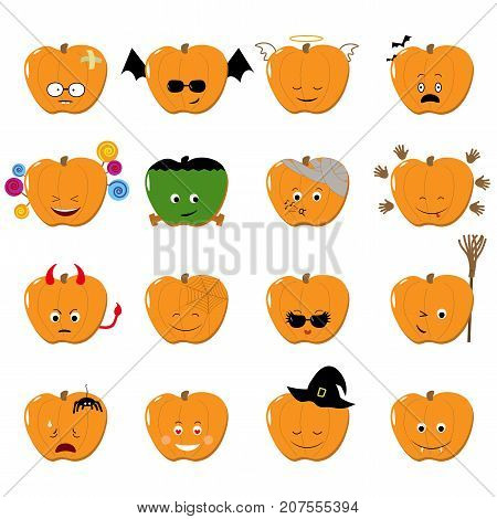 Emoticons halloween vector set. funny emotion stickers