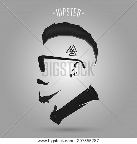 Hipster man punk hair style design on gray background