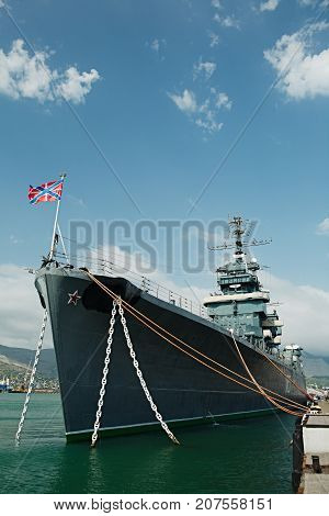NOVOROSSIYSK, RUSSIA - August 6, 2017: The ship-museum cruiser Mikhail Kutuzov moored at the port of Novorossiysk