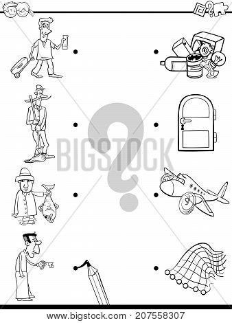 Match Men And Objects Coloring Book