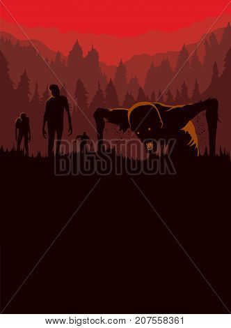 Silhouette of Zombies horde resurrected out of the ground. Illustration about Halloween concept.