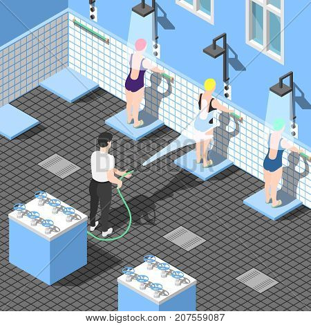 Alternative hydrotherapy medicine isometric background with women in swimsuits under water jets in shower room vector illustration