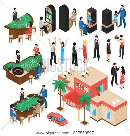 Casino isometric icons set with croupier and gamers playing roulette black jack and slot machine isolated vector illustration