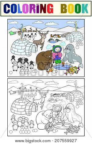 North Pole vector illustration. Coloring book educational game for kids educational game. Arctic animals