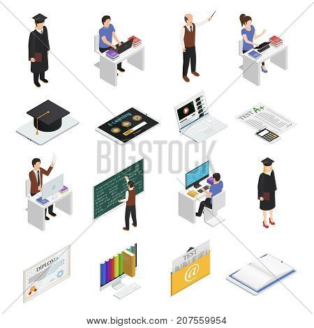 Students teachers and devices for e-leaning isometric icons set isolated on white background 3d vector illustration