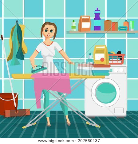 Woman housewife iron clothes on an ironing board in bathroom. Flat cartoon vector illustration