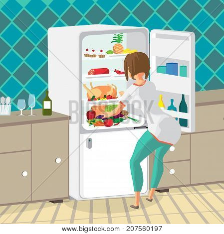 Young woman housewife takes out food from the refrigerator in the kitchen. Girl opens the fridge. Flat cartoon vector illustration