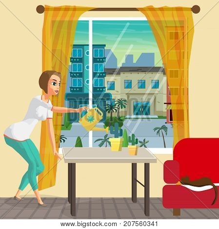 Young woman housewife is watering the indoor flowers. Girl with watering can. Flat cartoon vector illustration