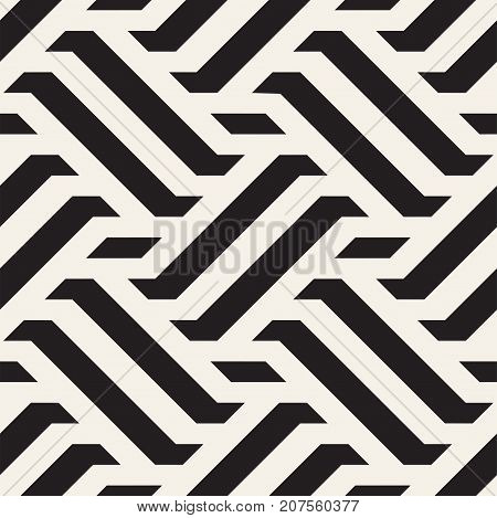 Vector Seamless Pattern. Modern Stylish Interlacing Lines Texture. Geometric Striped Ornament. Monochrome Linear Braids