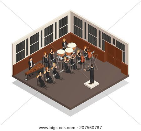 Conductor and musicians playing xylophone flute drums violin trumpet in orchestra 3d isometric vector illustration
