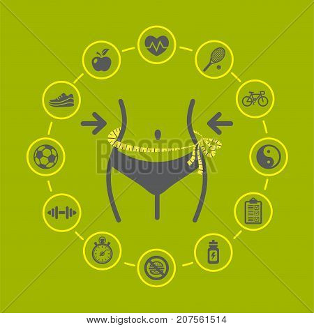 Weight loss Vector illustration with health and fitness icons