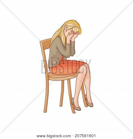 vector flat woman in red skirt, heeled crying sitting at chair. Unhappy female character suffering from frustration, grief. Isolated illustration on a white background. Mental illness concept