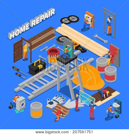 Isometric colored home repair worker people composition with combined icon set on repair and tools of workers theme vector illustration