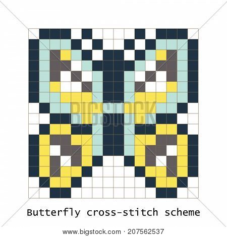 Cross-stitch pixel art butterfly vector set. Cross-stitch brick style zoo for kid building kit toys or embroidery scheme products.