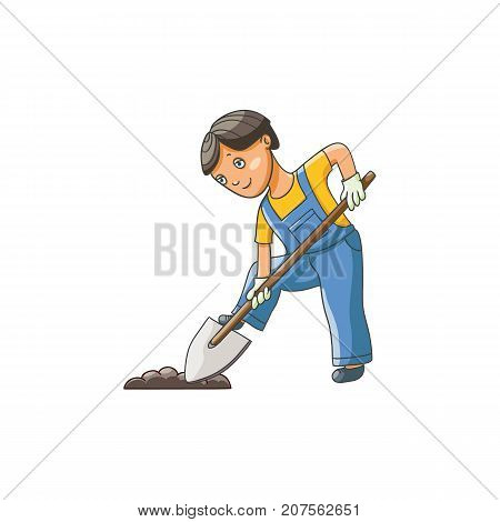 Teenage boy in gardening gloves digging ground with shovel, flat cartoon vector illustration isolated on white background. Full length portrait of boy, kid, child digging ground, helping in garden