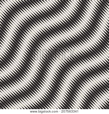 Wavy stripes vector seamless pattern. Retro wavy engraving texture. Geometric zigzag lines monochrome design.