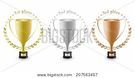 Sport Trophies For The First Place, Second Place And Third Place With Laurel Wreath And Stars. Gold,