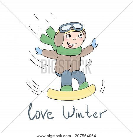 Love winter card. Smiling Teen with a snowboard