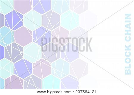 Vector illustration on business theme with block chain inscription.