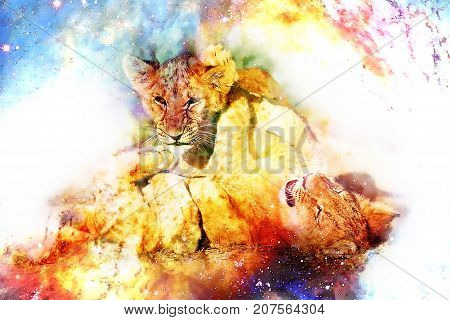 Two cute lion cubs playing together in cosmic space