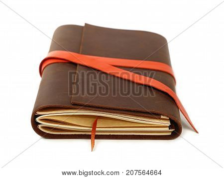One Leather Cover Notebook Isolated On White