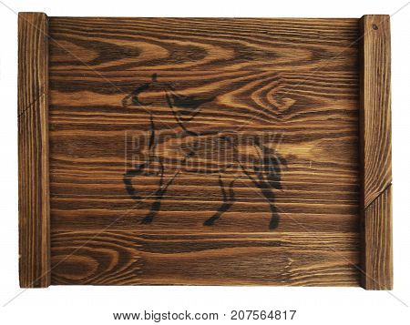 Rustic vintage wooden tray with a horse on isolated white background.