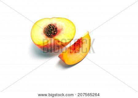 Ripe peach (nectarine) isolated on white background
