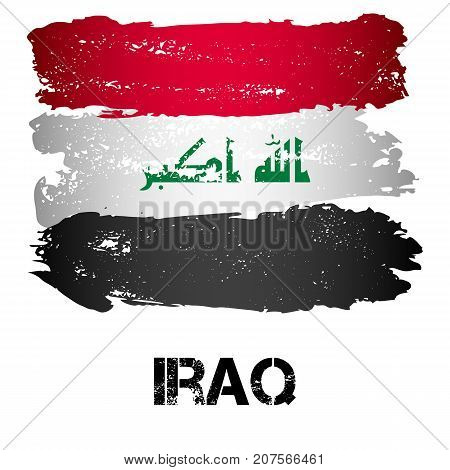 Flag of Iraq from brush strokes in grunge style isolated on white background. Country in Persian Gulf in Western Asia. Vector illustration