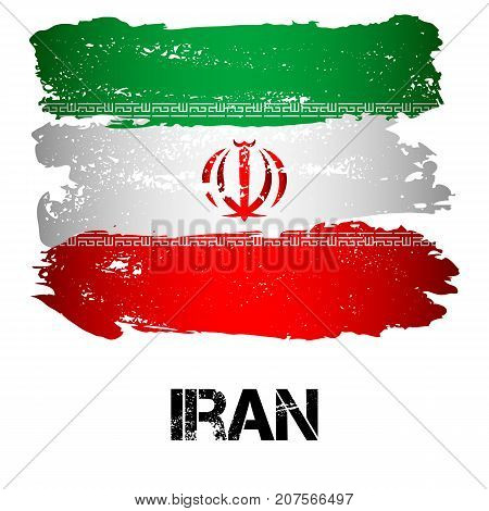 Flag of Iran from brush strokes in grunge style isolated on white background. Country in Persian Gulf in Western Asia. Vector illustration